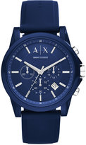 Armani Exchange A|X Unisex Chronograph Blue Silicone Strap Watch 44mm AX1327