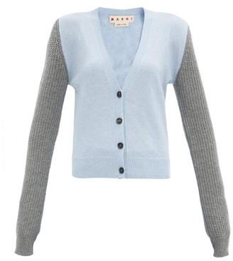 Marni Colour-block Cashmere-blend Cardigan - Blue Multi