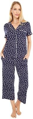 Kate Spade Modal Spandex Jersey Capri Pajama Set (Mini Pucker Up Navy) Women's Pajama Sets