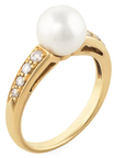 Mikimoto Vintage 18K Yellow Gold, Akoya Pearl & 0.18 Total Ct. Diamond Ring