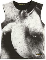 Finger In The Nose Sleeveless Horse Printed Cotton T-Shirt