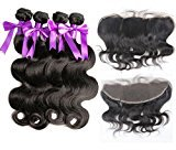 8A Brazilian Body Wave with Lace Frontal 100% Human Hair Extensions Pre Plucked Ear to Ear Lace Frontal Closure with Bundles (22 24 26 28 with 16)