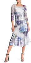 Komarov 3/4 Length Sleeve Square Neck Midi Dress