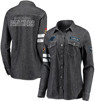 Unbranded Women's WEAR By Erin Andrews Heather Black Carolina Panthers Long Sleeve Button-Up Denim Shirt