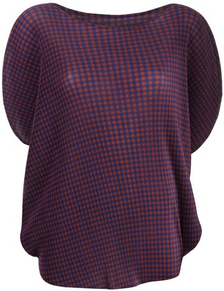 Pleats Please Issey Miyake checked pleated T-shirt