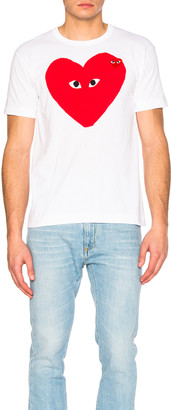 Comme des Garcons Large Heart Tee in White | FWRD