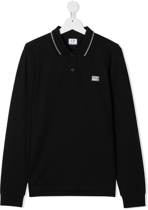 C.P. Company Kids TEEN logo patch long-sleeved polo shirt
