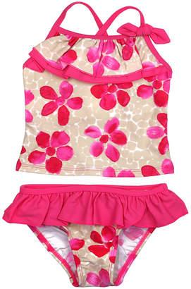 Floatimini Pink Daisies Front Ruffle Tankini Set