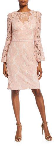 Tadashi Shoji High-Neck Bell-Sleeve Lace Cocktail Dress