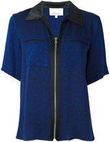 3.1 Phillip Lim zipped short sleeve shirt - women - Silk/Acetate/Viscose - 2