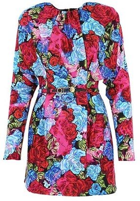 Versace Tie Dye Rose-Print Belted Sheath Dress
