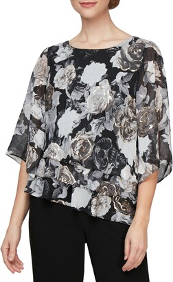 Alex Evenings Floral Print Three Quarter Sleeve Blouse