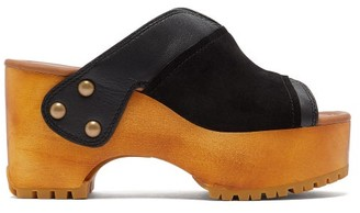 See by Chloe Suede-trimmed Platform Leather Clogs - Black