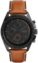 Fossil Men's Chronograph Sport 54 Dark Brown Leather Strap Watch 44mm CH3050