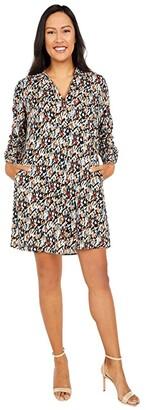 Nic+Zoe Painted Leopard Dress (Indigo Multi) Women's Clothing