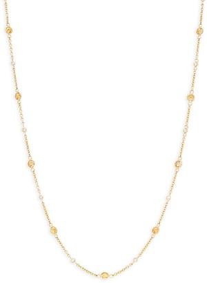 Effy 14K Yellow Gold, Yellow Sapphire Diamond Station Necklace