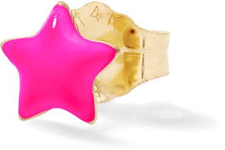Alison Lou Neon Pink Tiny Star Stud Single Earring - Yellow Gold
