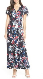 French Connection Linosa Floral Print Faux Wrap Maxi Dress