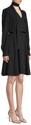 Elie Tahari Eleanora Tieneck Long-Sleeve Belted Shirtdress