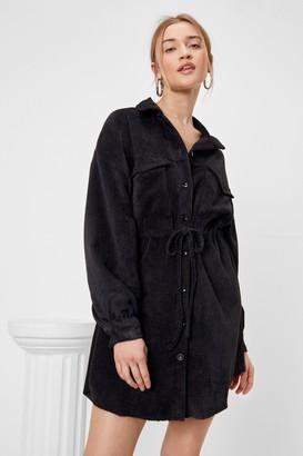 Nasty Gal Womens Play the Right Cords Drawstring Shirt Dress - Black