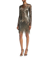Naeem Khan Long-Sleeve Fringed Cocktail Dress
