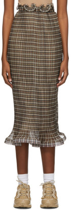 Burberry Brown Plisse Check Ruffle Detail Skirt