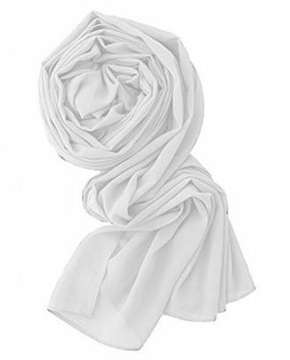 Cuckoos' Wardrobe Women's Chiffon Head Wraps for Women - Solid Color Fashion Bubble Chiffon Scarf Hijab (White)