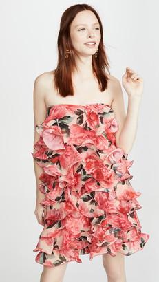 Costarellos Strapless Georgette Mini Dress