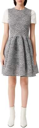 Maje Reinatta Floral Jacquard Mini Fit--Flare Dress