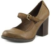 Mia Susy Women Round Toe Synthetic Brown Heels.