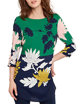 Joules Felicia Printed Woven Tunic Top, Oak Green Fay Floral