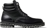 Jimmy Choo ODIN Black Pull Up Leather Boots with Canvas Panels