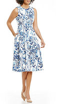 Eliza J Round Neck Sleeveless Printed Midi Fit & Flare Dress