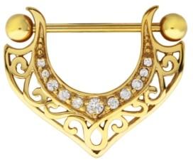 Rhona Sutton Bodifine Stainless Steel Crystal Filigree Shield Nipple Bar