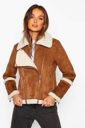 boohoo Suedette Aviator With Teddy Faux Fur Lining