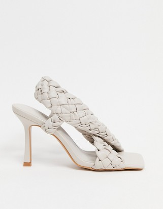 ASOS DESIGN Nock woven cross strap heeled sandals in off white