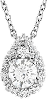 Hearts On Fire 18K 0.42 Ct. Tw. Diamond Teardrop Halo Pendant Necklace