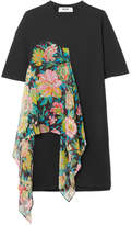 MSGM Floral-print Chiffon And Cotton-jersey Dress - Black