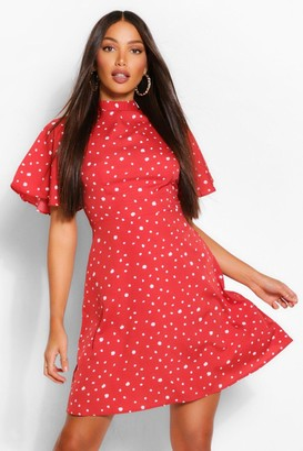 boohoo Tall Polka Dot Angel Sleeve Skater Dress