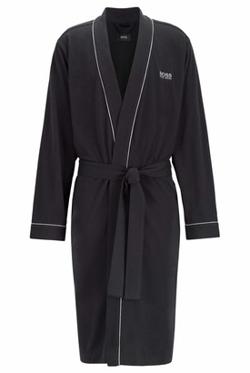 HUGO BOSS Mens Kimono BM Cotton Dressing Gown with Contrast Piping Black