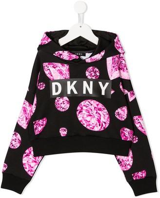 DKNY Diamond-Print Logo Hoodie