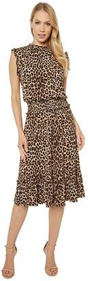 MICHAEL Michael Kors Mini Cheetah Smocked Waist Dress (Dark Camel) Women's Clothing