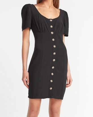 Express Button Front Scoop Neck Mini Dress