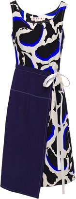 Marni Satin-trimmed Wrap-effect Printed Crepe Dress