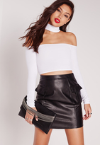 Missguided Choker Ribbed Crop Top White
