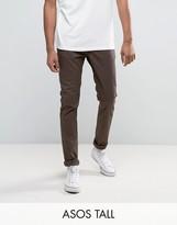 Asos Tall Skinny Chinos In Brown