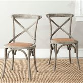 Safavieh Franklin X-Back Farmhouse Chairs in Distressed Colonial Walnut (Set of 2)