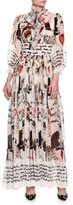 Dolce & Gabbana Cat-Print Tie-Neck Chiffon Gown, White