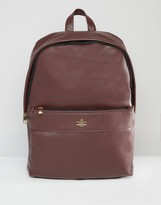 Asos Backpack In Burgundy With Gold Emboss