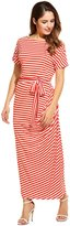ANGVNS Women Loose Short Sleeve Striped Draped Long Maxi Casual Dress with Belt